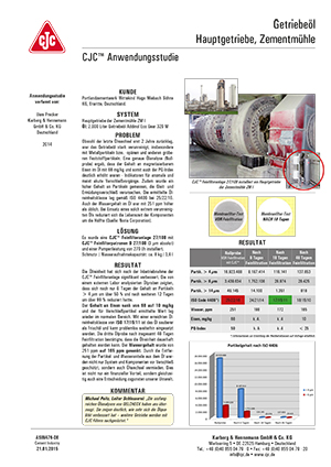 Anwendungsstudie Getriebeöl Filtration, Hauptgetriebe, Zementmühle