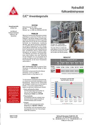 Anwendungsstudie, Hydrauliköl pflegen, Kalksandsteinpresse