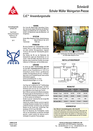 Anwendungsstudie, Schmieröl-Feinfiltration, Hydraulikpresse