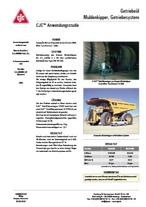 Anwendungsstudie, Getriebeölfilter, Muldenkipper