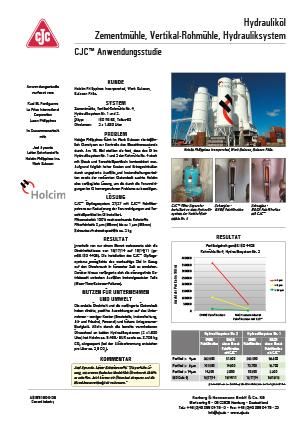 Anwendungsstudie, Hydrauliköl, Zementmühle, Vertikal-Rohmühle