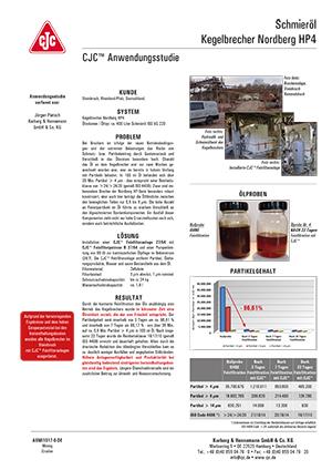 Anwendungsstudie, Schmieröl-Feinfiltration, Kegelbrecher Nordberg HP4
