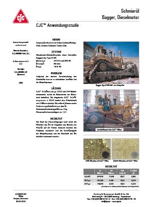 Anwendungsstudie, Motorschmieröl Feinfiltration, Dieselmotor, Planierraupe