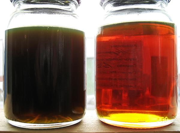 Ölpflege und Feinfiltration mit CJC: Ölproben vorher und nachher