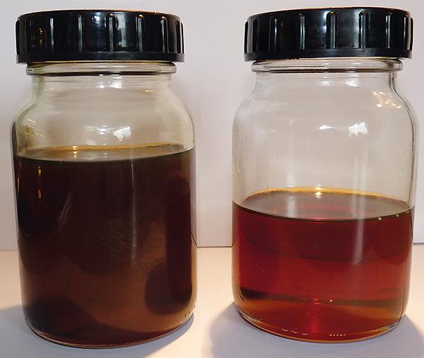 Ölproben vorher-nachher, Schmieröl-Feinfiltration