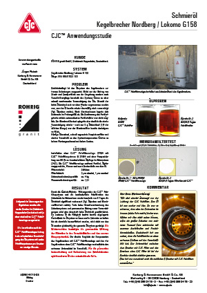 Anwendungsstudie, Schmieröl-Filtration, Kegelbrecher Nordberg Lokomo