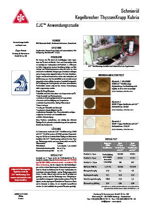 Anwendungsstudie, Schmierölpflege, Kegelbrecher ThyssenKrupp Kubria
