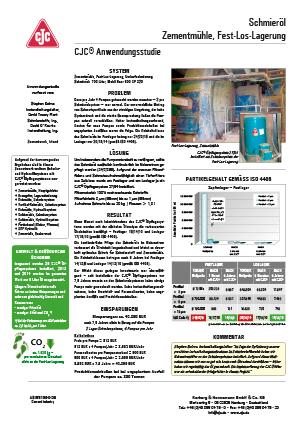 Anwendungsstudie, Schmieröl pflegen, Fest-Los-Lagerung, Zementmühle