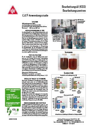 Bearbeitungsöl aufarbeiten, Bearbeitungszentren, Anwendungsstudie