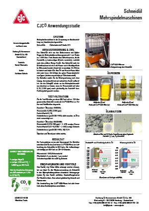 Schneidöl aufbereiten, Mehrspindelmaschinen, Anwendungsstudie
