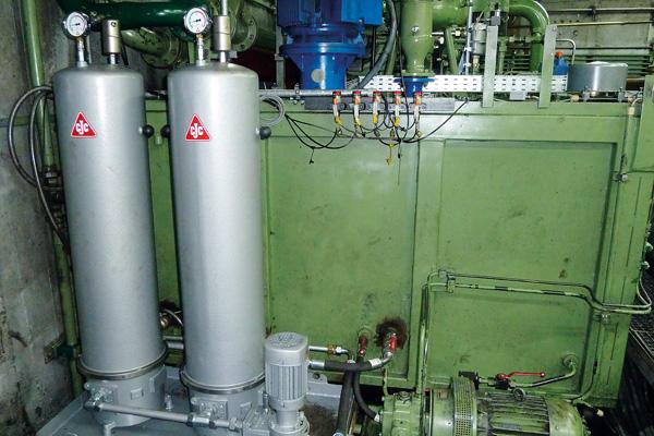 Hydrauliköl filtern im Nebenstrom Schmiedepresse, Hydraulikaggregat, CJC Nebenstromfilter